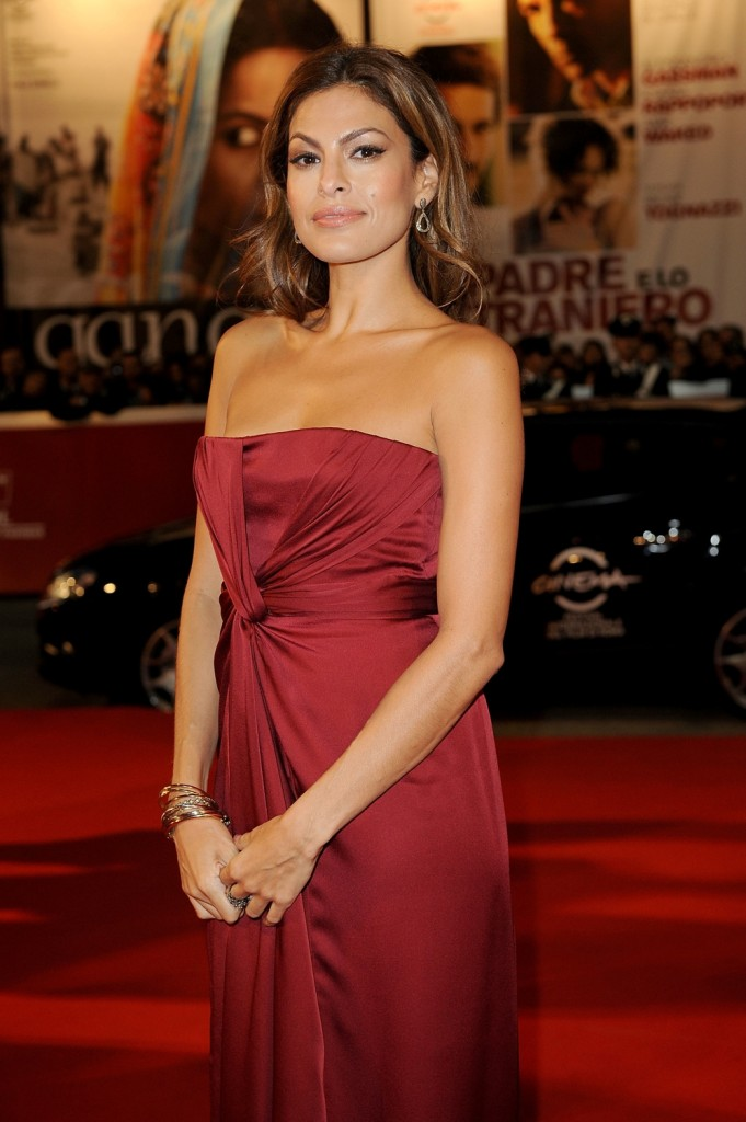 Eva Mendes in a red dress
