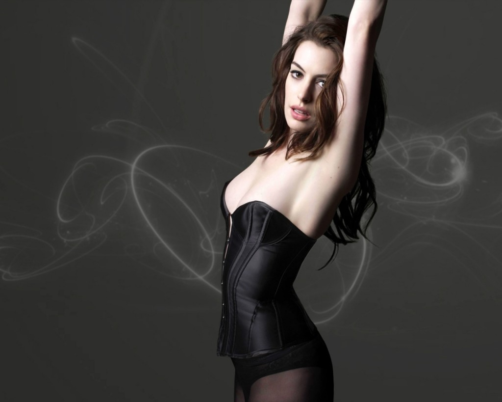 Anne Hathaway prior to Dark Knight Rises in a black number