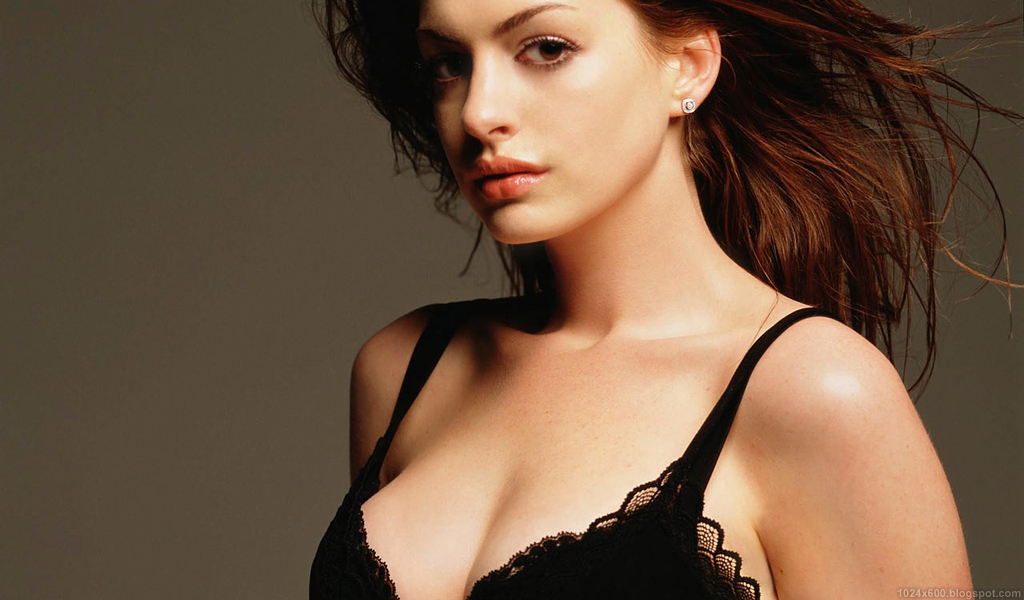 Anne Hathaway in black lingerie