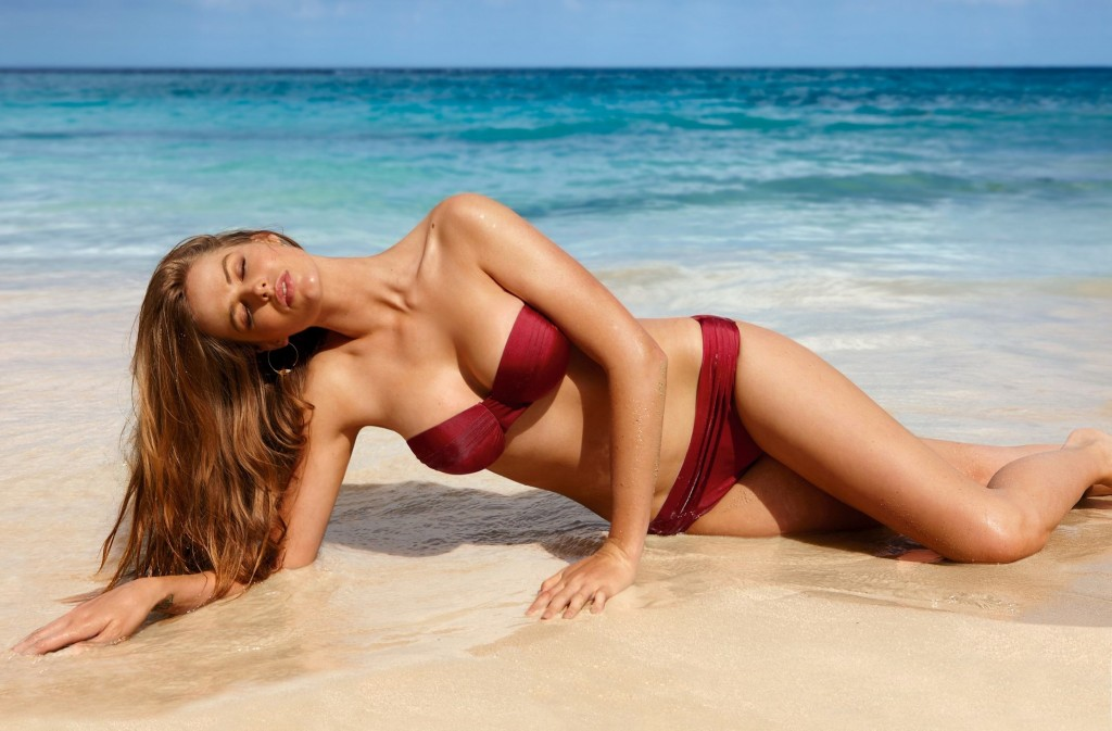 Robyn Lawley in red swimwear